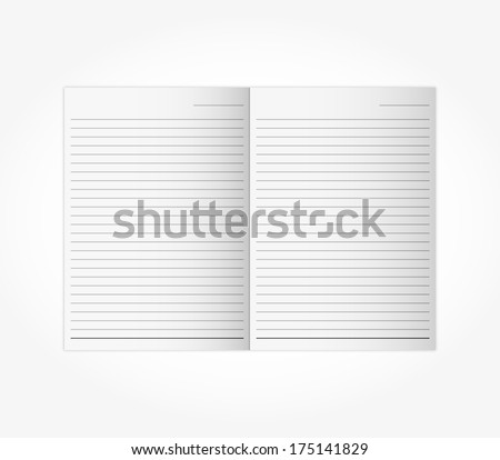 open two face,page blank Wood-free Paper notebook with black line isolated