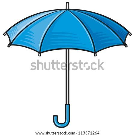 open umbrella (blue umbrella)