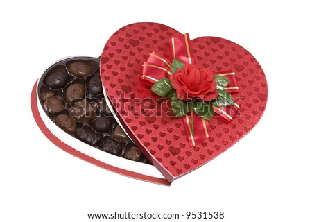 Open valentines chocolates box isolated on white
