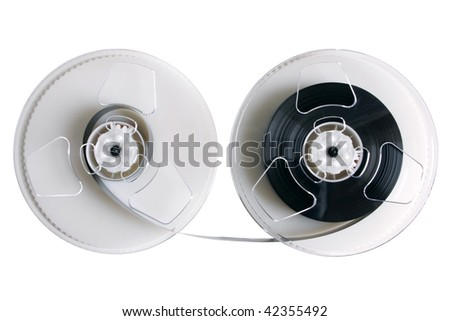 Open video cassette isolated on the white background