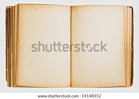 Open vintage book isolated on white background. - stock photo