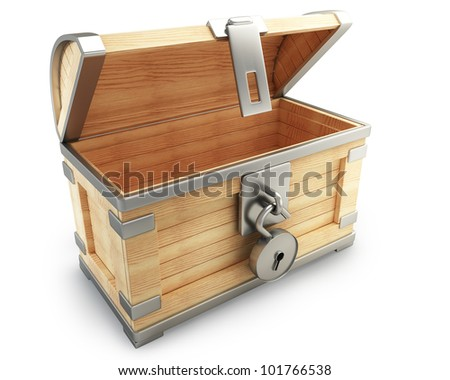 open vintage chest with lock isolated on white background high resolution 3d render
