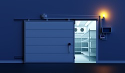 Open warehouse door. Freezing of products. Refrigeration room in stock products. Refrigeration equipment. Freezer with an automatic door. Storage of goods on warehouse shelves.