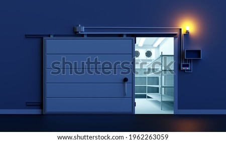 Open warehouse door. Freezing of products. Refrigeration room in stock products. Refrigeration equipment. Freezer with an automatic door. Storage of goods on warehouse shelves. ストックフォト ©