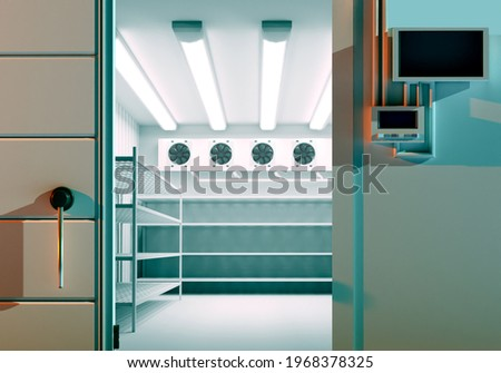 Open warehouse door. Freezing of products. Refrigeration room in stock products. Refrigeration equipment. Freezer with an automatic door. Storage of goods on warehouse shelves. Foto stock ©