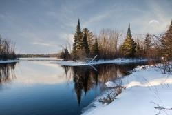 Open water on the prairie river in winter. Winter landscape.
