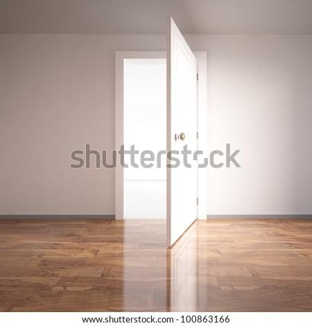 open white door - stock photo