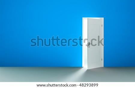 Open white door in a empty blue room