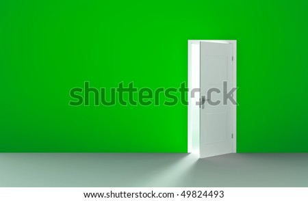 Open white door in a empty green room