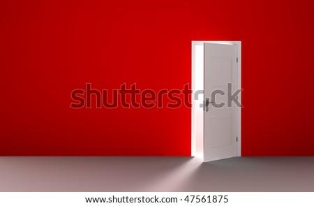 Open white door in a empty red room