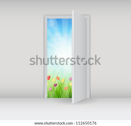 Open white door on a white wall with nature.  Raster version.
