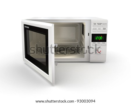 Open white microwave on white background. 3d