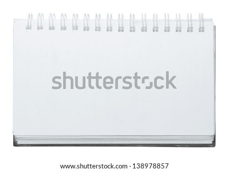 open white notebook on white background