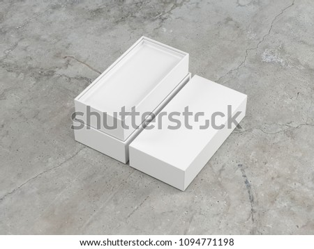 Open White rectangular Box packaging Mockup for smartphone gadget, 3d rendering