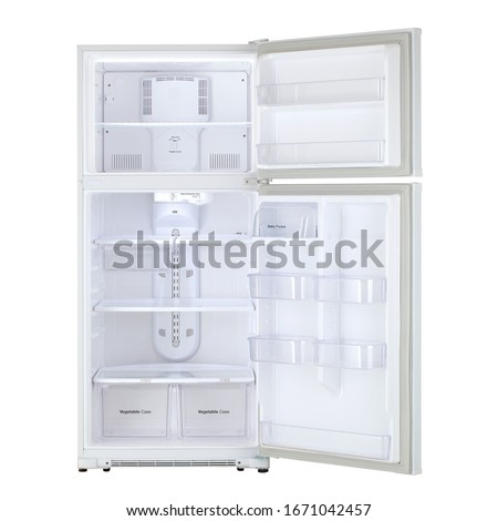 Open White Refrigerator Isolated on White Background. Opened Modern Top Mount Fridge Freezer. Electric Kitchen and Domestic Major Appliances. Front View of Two Door Top-Freezer Fridge Freezer