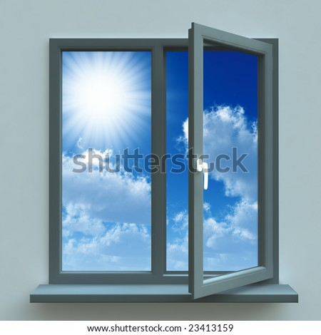 Open window against a blue wall and the cloudy sky and sun
