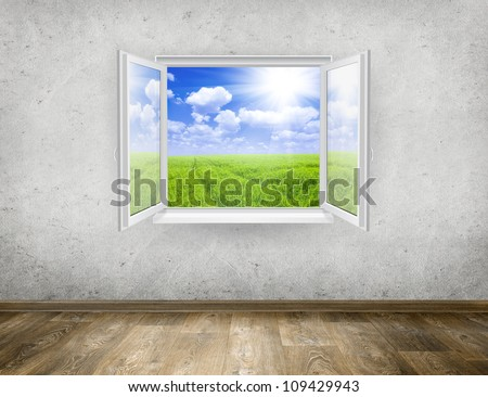 Open window from old room with landscape on a background