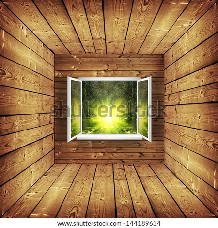 open window from wooden room with landscape on a background