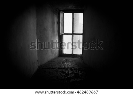 open window in an old brick house #462489667