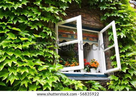 open window in rural house