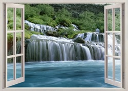 Open window view to Hraunfossar - Lava Falls - are beautiful and unusual natural phenomena