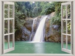 Open window view to tropical waterfall  near the City of Waterfalls, Iligan, Mindanao, Philippines