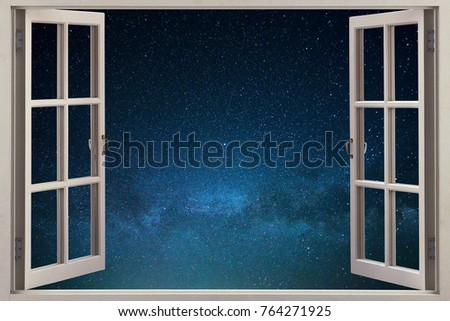 Open window with a view of the starry sky