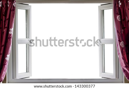 Open window with a white background and curtains