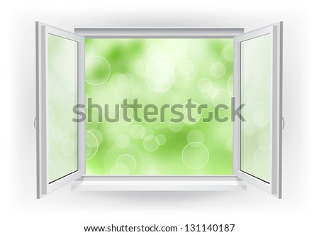Open window with abstract bokeh sky on a background