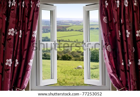Open window with view across and English countryside