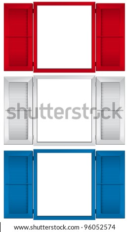 Open windows in red, white and blue isolated on white