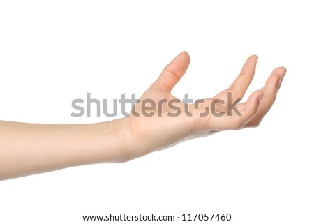 Open woman hand on white background