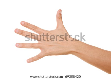 Open woman hand on white background, Isolated image
