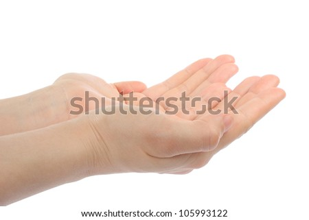 Open woman hands on white background