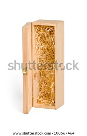 Open wooden box for wine on white background.