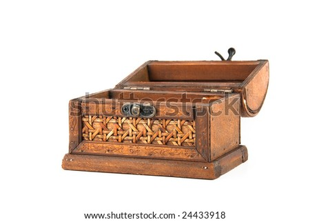 Open wooden chest isolated over white background