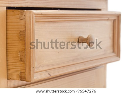 Open wooden drawer with handle - stock photo