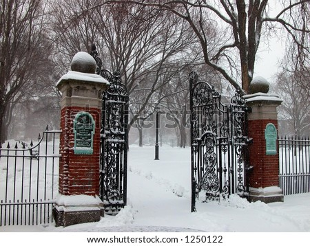 open wrought iron gates,snow,Brown University