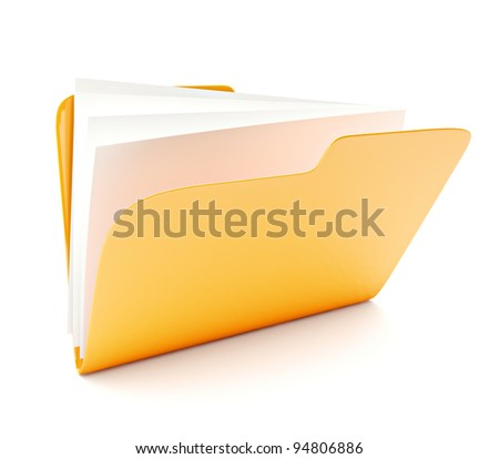 open yellow folder 3d icon isolated on white