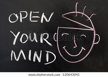 Open your mind concept chalk drawing on the blackboard - stock photo