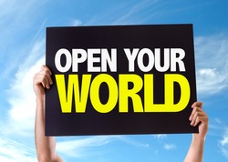 Open Your World card with sky background