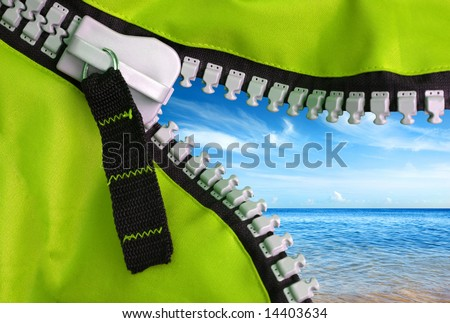 Open zipper of a camping tent showing a beautiful blue sky and clear sea