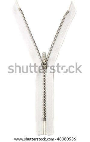 Open zipper on white background