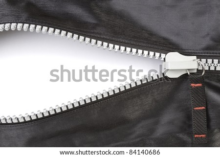Open zipper with a blank space with a soft shadow.