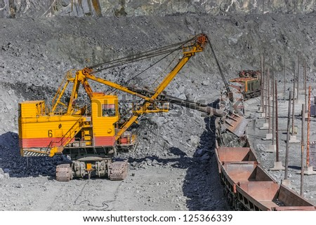 opencast mine excavator and railway