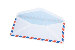 opend airmail envelope isolated on white background with clipping path