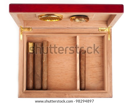 Opene humidor with cigars isolated on white background