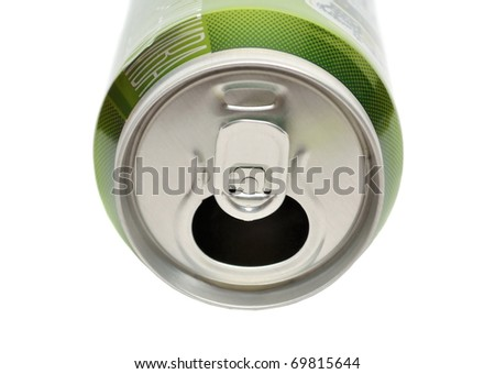 Opened aluminum can for soft drinks or beer isolated on white