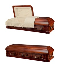Opened and close wooden coffin isolated on white background. Ritual objects for burial. Conduct of the deceased on his last journey. Surrender body dust of the earth. Christian funeral ritual