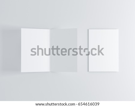 Opened and closed blank greeting card Mockup, Top view on leaflet or invitation, 3d rendering
